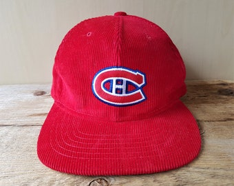 Montreal CANADIENS Original Vintage 80s Official Licensed NHL Red Corduroy Trucker Snapback Hat National Hockey League Ted Fletcher Rare Cap