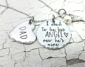 I used to be his Angel now he's mine necklace, sympathy gift, memorial necklace, angel wing necklace, bereavement gift, Remembrance necklace