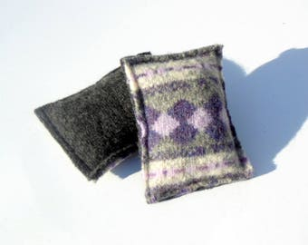 Wool Pocket Hand Warmers, Eco Friendly, Reusable, Purple and Grey, Rice Pocket Hand Warmers
