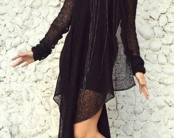 SALE 25% OFF Asymmetric Tunic Dress / Black Tunic / Black Asymmetrical Tunic /Tunic Dress / Asymmetric Tunic Top TDK21