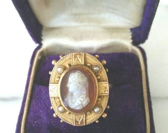 10k Victorian hardstone cameo ring