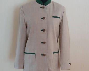 Vintage Linen Women German Trachten Loden Cardigan Traditional Austrian Octoberfest Blazer Medium Size