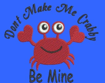 Don't Make me Crabby Embroidery Design