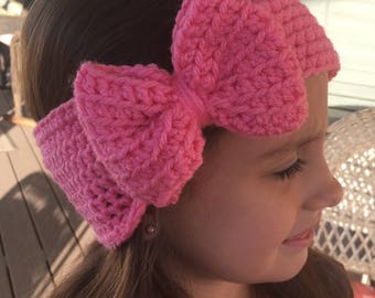 Girls Wide Big Bow Headband - Earwarmer