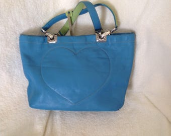 REDUCED! Brighton blue and apple green satchel small handbag or small tote