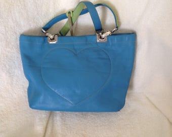 Brighton blue and apple green satchel small handbag or small tote