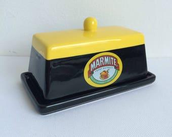 Vintage Marmite Butter Dish Plus Last Drop Spoon, Collectible Butter Dish