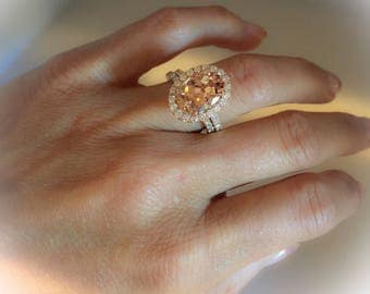 Morganite & Diamond Engagement Ring 14kt Rose Gold 4.05 Oval Pink-Peach Morganite Halo Ring with Diamond Wedding Band Included