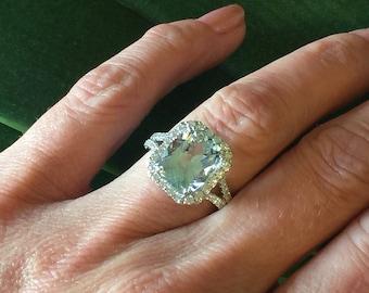 Aquamarine Engagement Ring 3.24ct Long Cushion Genuine Aquamarine Ring Split Shank Halo Ring .70ct Natural Diamonds Pristine Custom Rings