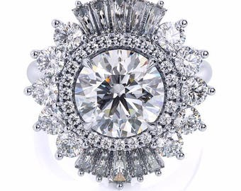 Diamond Engagement Ring 1.50ct Round Moissanite Ring 1.20ct Natural Diamonds Art Deco Cocktail Anniversary Ring Pristine Custom Rings