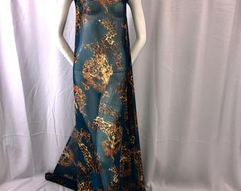 Teal leopard chiffon fabric- super soft chiffon print-dresses-fashion-apparel-nightgown-sold by the yard.