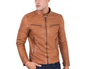 Genuine leather biker jacket, korean collar, smooth soft lamb leather, tan color