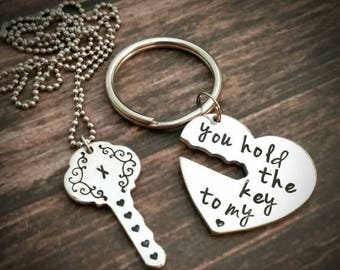 Hand stamped you hold the key to my heart necklace and key chain set, heart Key chain, couples key chain necklace combo