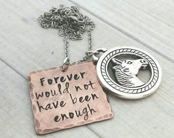 Horse memorial necklace,  animal memorial jewelry, forever would not have been enough necklace,  hand stamped necklace,  horse lovers