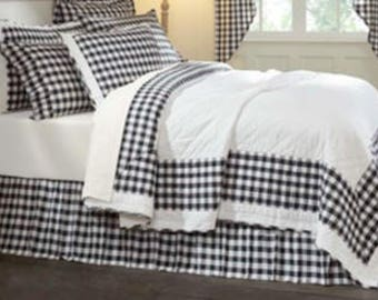 Black and White Plaid Skirt - Gingham Checked Bed Skirt - Checked Bed Valance - Country Bedskirt - Plaid Dust Ruffle  - Queen Size