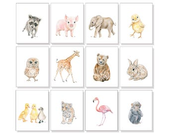 Kids Art Kids Prints Kids Wall Art Kids Room Decor Boys Room Art Girls Wall Decor Playroom Decor Kids Bedroom Art Fun Animal Print Set of 12