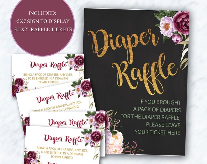 Burgundy Floral Diaper Raffle Ticket + Sign // Peony // Gold // Watercolor // Chalkboard// Purple // Instant Download // FLORENCE COLLECTION
