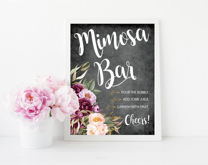 "Mimosa Bar Sign 8x10""  // Momosa Bar // Mimosas // Burgundy // Gold // Floral // Chalkboard // Made to Match our FLORENCE COLLECTION"