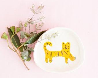 Nimerah Tiger dish - orange stripe big cat ceramic plate