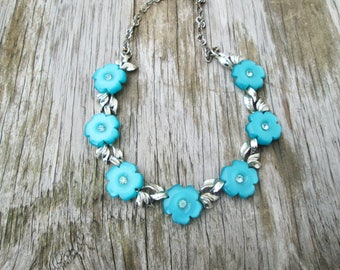 Vintage Teal Flower Necklace Thermoset Rhinestone Blue Green Silver Choker