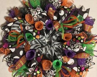 SALE Halloween wreath, skeleton wreath, mesh Halloween wreath, wreath Halloween decor skeleton decor skeleton wreath purple orange green  ri