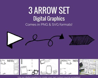 Digital Graphics -  3 Arrow Set (png and svg) Bullet Journal Digital Stickers