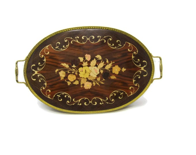 Large Marquetry Inlaid Wood & Brass Serving Tray with Flowers - Vintage Mid Century - Made in Italy - Mad Men Decor