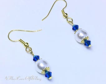 Regal White Pearl Drop Earrings made with Swarovski Sapphire Blue Crystals | Bridesmaids Gifts | Bridal | Elegant | Stylish | Simple