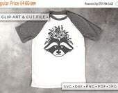 30% OFF Floral Raccoon - Clipart & Cut File - Hand Papercutting - Cricut / Silhouette - SVG DXF Png Pdf Jpg - Kids Children Nursery