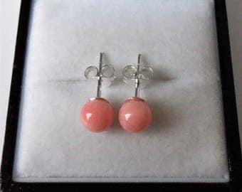 Sterling Silver 6mm Pink Coral Stud Earrings.