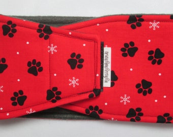 Male Dog Belly Band - Paws w Snowflakes on Red (#156)