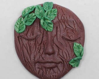 SALE - Face Cabochon, Forest Fairy Face, Brown Tree with Green Leaves Polymer Clay Face Cabochon Art Doll Face
