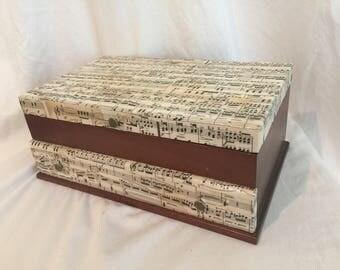 1893 antique sheet music decoupage wooden vintage jewelry box