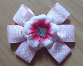 Pink Hairbow, Flower Hairbow, Polka Dot Hairbow, Girls Hair Accessory, Girls Hairbow, Toddler Hairbow, Little Girls Hairbow, Girls Hair Clip