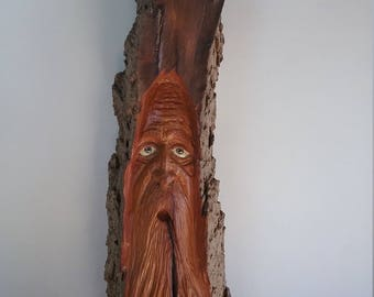 Cottonwood Bark Carving Wood Spirit Gnome Fairy One Of A Kind Sculpture