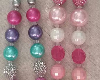 Initial K Bubble Gum Bead Necklace  (you choose which color) each