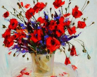 Original oil painting Poppies Still life Bouquet Gentle