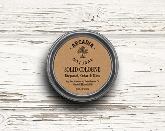 Bergamot, Cedar & Musk Solid Cologne in a Travel Tin, Vegan Cologne, Alcohol Free Cologne