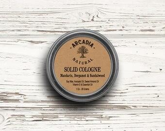 Mandarin, Bergamot & Sandalwood Solid Cologne in a Travel tin, Vegan Cologne, Alcohol Free Men's Cologne, Natural pocket cologne