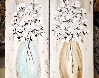 Cotton painting, Cotton Art, Cotton arrangement, cotton decor, farmhouse, rustic art