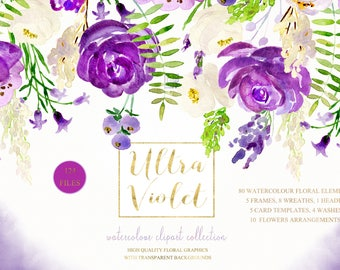 Ultra violet watercolour flowers clipart: WREATHS, HEADER, WASHES. Purple, lavander,cream  Peonies, roses, eggplant. Pantone color of 2018