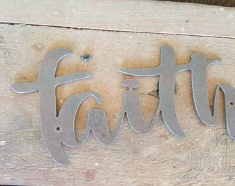 """Metal """"Faith"""" cutout for sugar molds, etc... (sugar mold,  containers or plants not included)"""