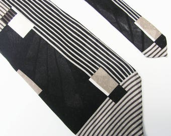 Vintage 1990'  Adolfo Made In Italy Taupe  And Black Design Mens Tie Excellent Shape
