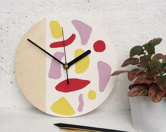Hand painted small wall clock | abstract shapes | womans face | wooden clock | art decor | modern homeware | housewarming gift