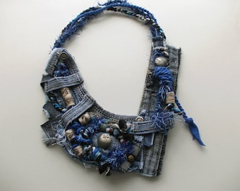 Asymmetric Jeans necklace... Recycled jeans necklace, eco-friendly textile jewelry, shabby tribal chanky denim fiber rocker necklace.