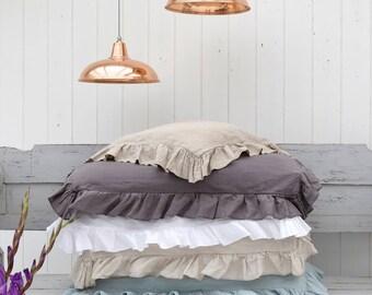 Ruffled Linen Pillowcase, QUEEN Pillowcase, Linen Pillowcase, Linen Bedding, Shabby Chic Bedding, Farmhouse Decor, Stonewashed Linen