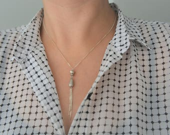 Silver Beads pendant Y necklace, sterling silver Lariat Y necklace, Silver 925 necklace,
