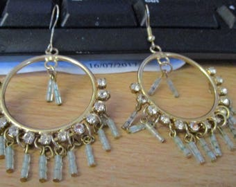 "vintage 2.25 drop hoop 1.25""goldtone earrings with dangling 3 beads  under diamante bottom"