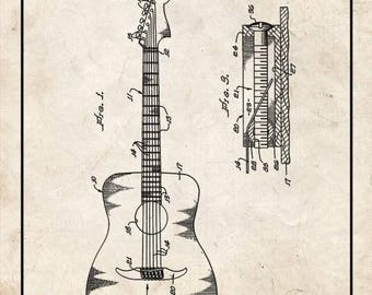 CLEARANCE - Clarence Fender Guitar Patent Print - 24x30 Old Look with Border