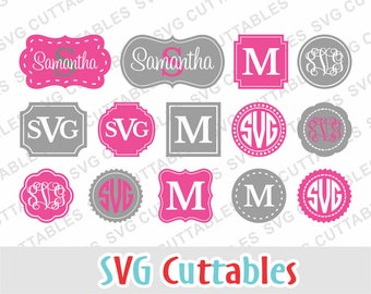 Monogram Frames svg, monogram frames dxf, circle monogram frame, Silhouette file, Cricut file, Digital cut file, Digital download